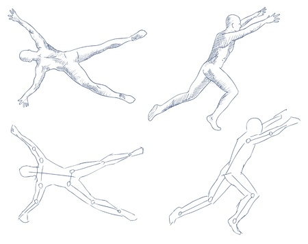 artistic nude: human in motion artistic sketch with shading vector