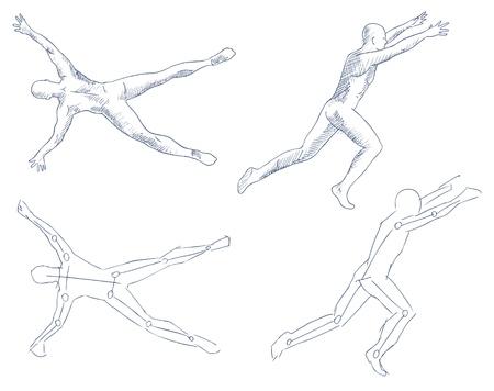 nude mann: Mensch im k�nstlerischen Bewegung skizzieren mit Schattierung Vektor