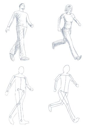 people walking artistic sketch with shading vector Vector