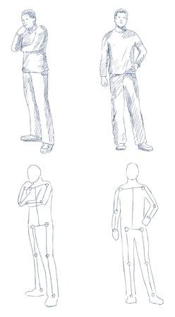 bocetos de personas: Esbozo artística del hombre con el vector de sombreado Vectores