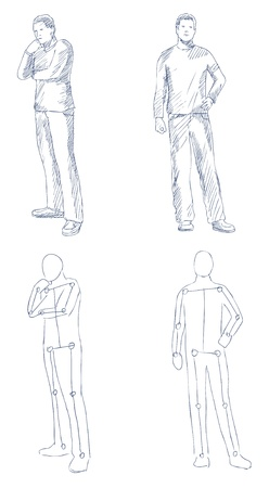 man artistic sketch with shading vector Vector