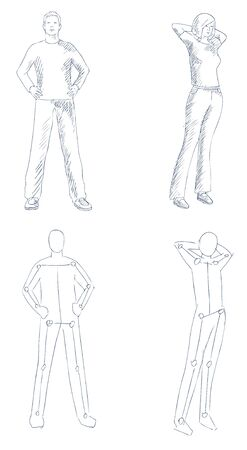 people artistic sketch with shading vector Vector