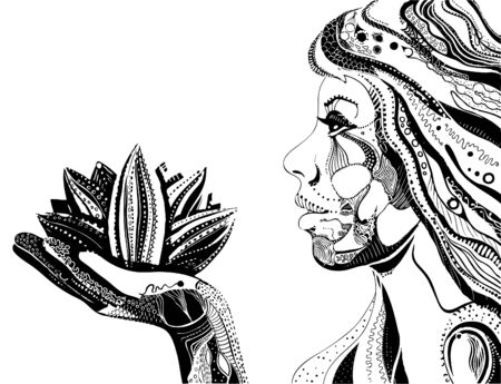 east indian: woman with lotus flower, black ornate pattern vector