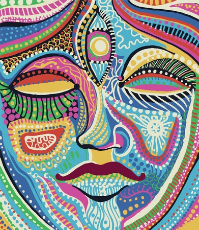 meditate: woman face with bright multicolored pattern vector
