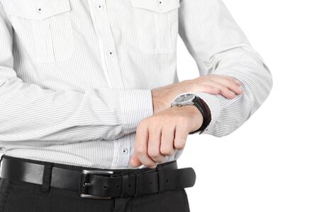 timely: closeup of businessman hand with watch isolated