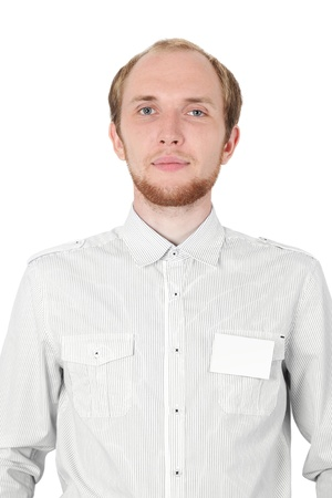 man in white shirt with badge card isolated photo