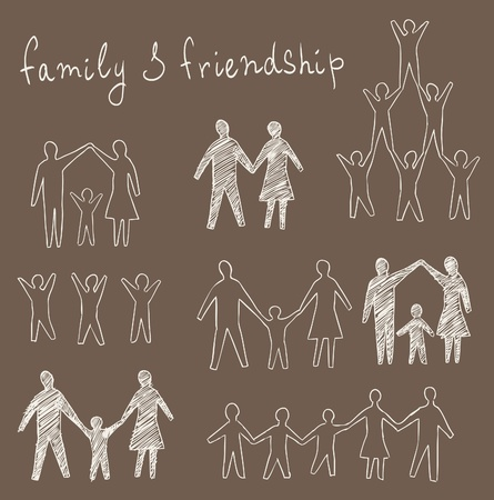 family and friendship symbols set