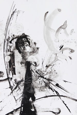 black and white abstract brush painting Stock Photo