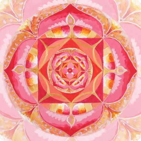 muladhara: abstract red painted picture with circle pattern, mandala of muladhara chakra
