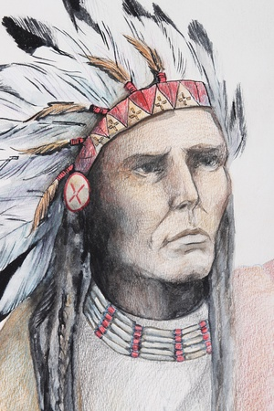 native american man: color drawing of american indian with feathers
