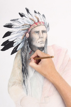 indian old man: man hand drawing pencil picture with american indian chieftain Stock Photo