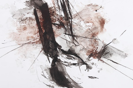 black and red abstract brush painting Stock Photo