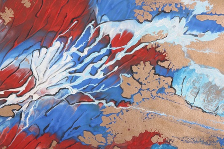 blue, red and white abstract brush painting photo