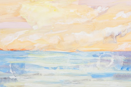 sea landscape and sunset painting photo