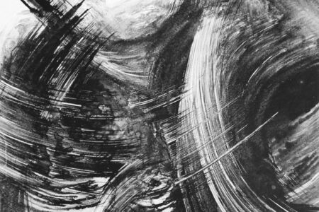ink drop: black and white abstract brush painting Stock Photo