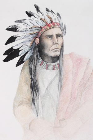 indian old man: color drawing of american indian with feathers
