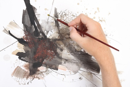 man hand painting abstract picrure photo