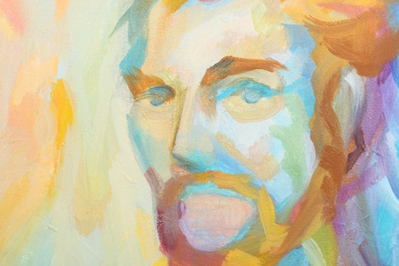multicolored abstract portrait of man photo