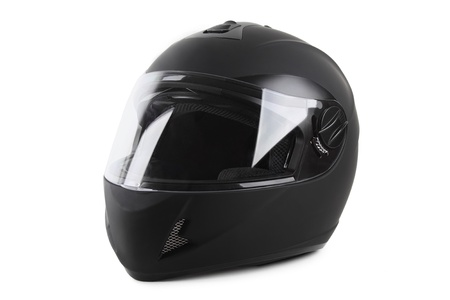 black motorcycle helmet isolated photo