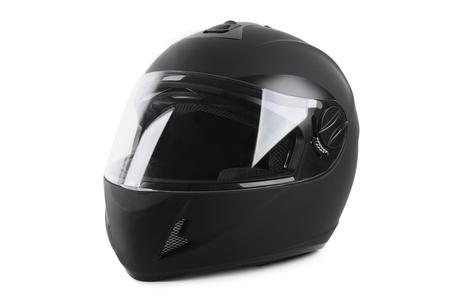 casco moto: casco de moto negro aislado Foto de archivo