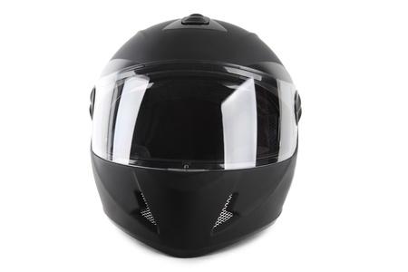 casco de moto: casco de moto negro aislado Foto de archivo