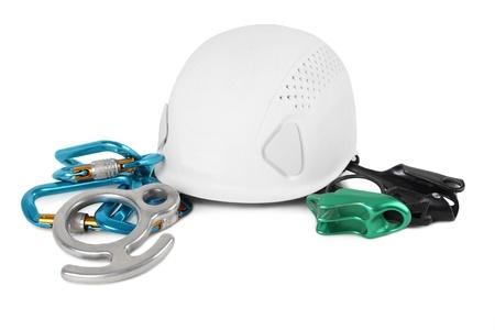 bergbeklimmen: verschillende apparatuur voor bergbeklimmen geïsoleerd