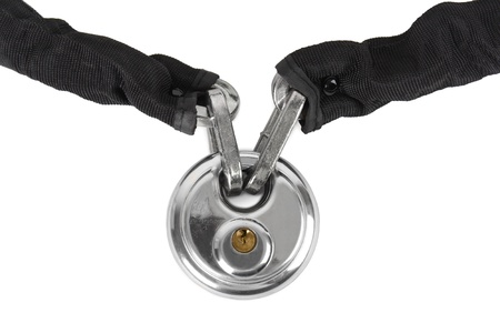 lock and chain: theft protection metal chain with lock isolated
