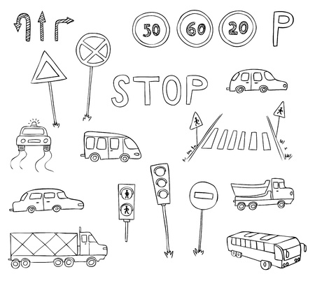 rules of road: traffic and transportation vector set Illustration
