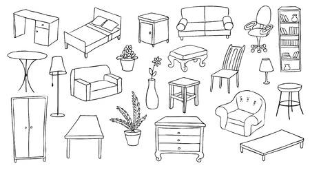 closets: furniture and decoration vector set Illustration