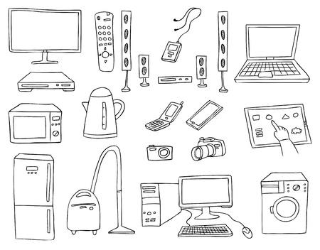 gospodarstwo domowe: gospodarstw domowych technika wektor zestaw