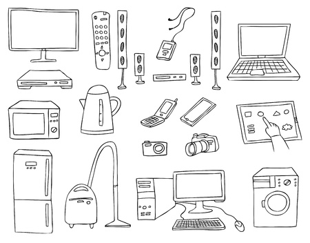vacuuming: household technics vector set