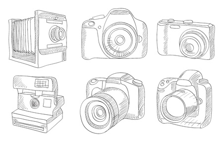 reflex: different photo cameras vector set