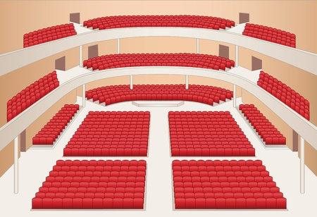 theater auditorium: interior of theater hall color plan vector
