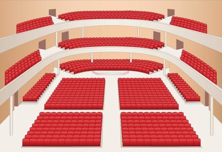 Wnętrze teatru wektora koloru planu hali
