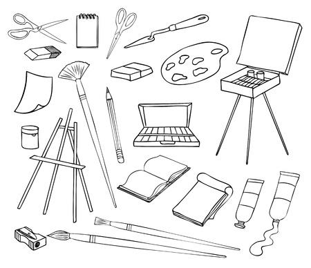 lapiz y papel: el arte y la pintura conjunto de vectores