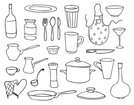 pot holder: household objects and dishes vector set Illustration