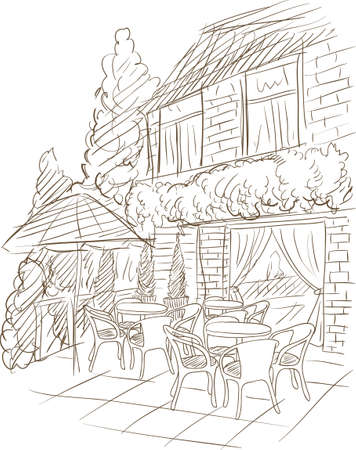 coffee houses: summer street cafe near building vector Illustration