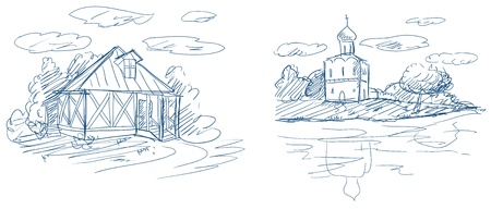 lake house: countryside landscapes with church and house vector Illustration