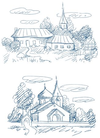 countryside landscapes with church and houses vector Stock Vector - 13561252