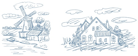 countryside landscapes with windmill and house vector Vector