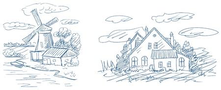 paysages de campagne avec moulin à vent et vecteur maison