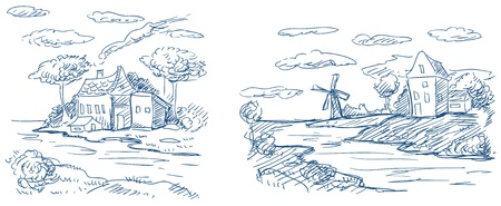 water mill: countryside landscapes with windmill and houses vector
