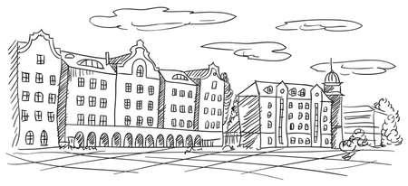 old european town cityscape vector Stock Vector - 13561205