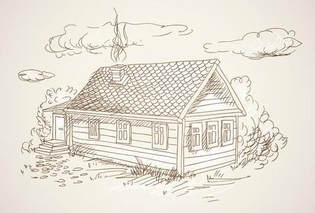 simple village house vector