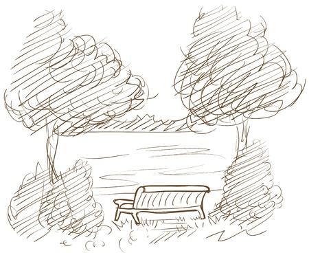 landschap met bank en uitzicht op het meer vector