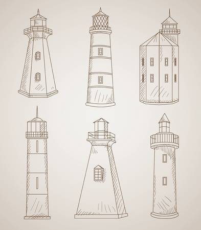 different lighthouses vector set Vector