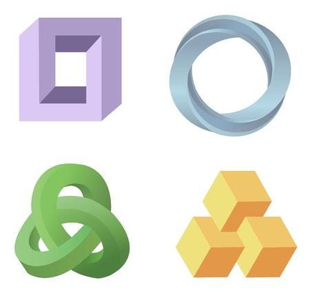 Paradoks: optyczny wektor symbole iluzja Ilustracja