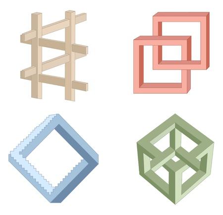 paradox: optical illusion symbols vector