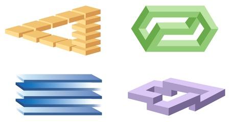 símbolos de la ilusión óptica de vectores Ilustración de vector