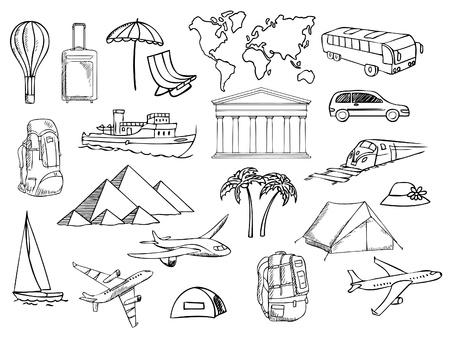 travel and vacation symbols vector